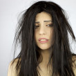 Woman desperate about very bad hair day — Stock Photo