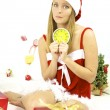 Stock Photo: Beautiful female SantClaus late for Christmas