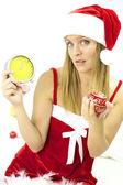 Sad Santa Claus showing clock late for Christmas night — Stock Photo