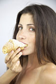 Hungry for Croissant with sugar goodbye diet — Stock Photo