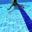 Stock Video: Beautiful swimmer underwater
