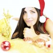 Happy Santa Claus showing thumb up ready for Christmas — Stock Photo