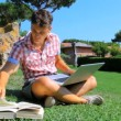 Man studying in park with pc. — Stock Video #37187471