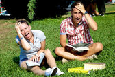 Two stressed out students shouting — Stock Photo