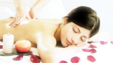 Back massage woman — Stockvideo