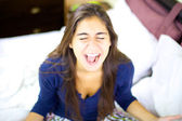 Young woman screaming like crazy — Stock Photo
