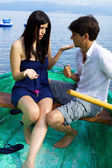 Couple discussing in vacation — Foto de Stock