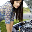 Stock Photo: Sad womin front of broken car