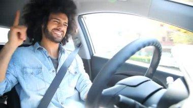 Man singing in car — Stock Video