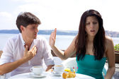 Beautiful woman angry with boyfriend not willing to listen — Stock Photo