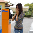Woman scared of price of gas — Stok fotoğraf