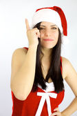 Female santa claus got a terrific idea for Christmas — Stock Photo