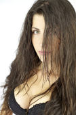 Closeup of female model with wet long hair — Stock Photo
