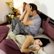 Sad couple after fight in bed — Stock Photo #50209233