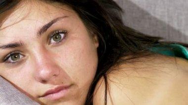 Cute fresh shy brunette young woman — Stock Video