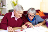 Happy senior couple at home calculating debt — Foto de Stock