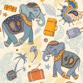 Vector illustration of an elephant. Travel pattern — Stock Vector