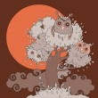 Owls in tree. Funny cartoon illustration. — Stock Vector