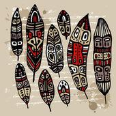 Ethnic Feather Set — Vetorial Stock