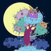 Owls in tree. Funny cartoon illustration. — Stock Vector