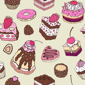 Cute cake. Seamless background. — Vector de stock