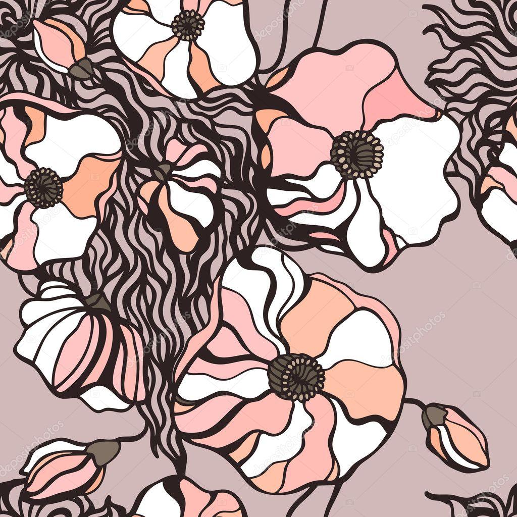 抽象花卉背景.无缝模式