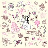 Wedding set. Hand drawn illustration. — Stock Vector