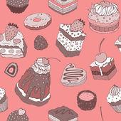 かわいいケーキ。シームレスな背景. — ストックベクタ