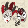 Royalty-Free Stock Vector Image: Hand Drawn Venetian carnival masks.
