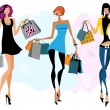Stock Vector: Tthree women with shopping bags
