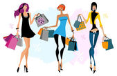 Tthree women with shopping bags — Stock Vector