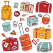 Vintage suitcases set. Travel Vector illustration. — Stock Vector #19726799