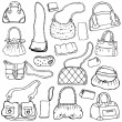 Royalty-Free Stock Vector Image: Women\'s handbags. Hand drawn Vector Set 1.