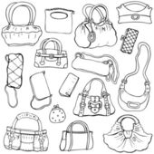 Women's handbags. Hand drawn Vector Set 2 — Stock Vector