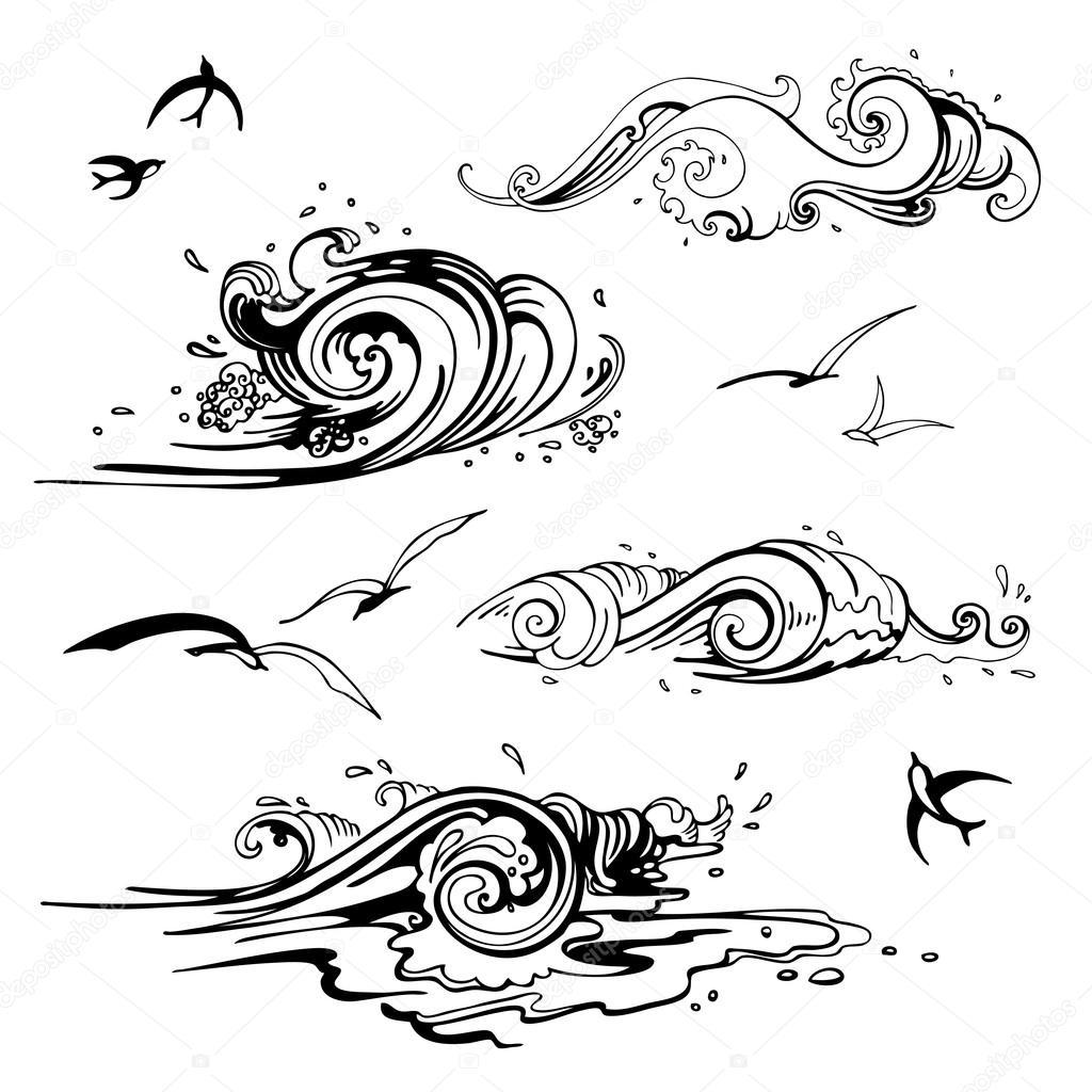 Sea Waves Set Hand Drawn Vector Illustration Stock