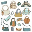 Women's handbags. Hand drawn Vector Set — Stock Vector