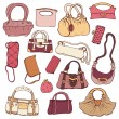 Women's handbags. Hand drawn Vector Set — Stock Vector #22667597