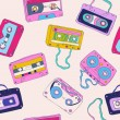 Seamless pattern of retro cassette tapes — Stock Vector #22667727