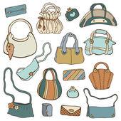 Women's handbags. Hand drawn Vector Set — Stock Vector