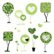 Abstract trees set.  Vector Illustration isolated. - Stock Vector