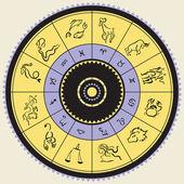 Horoscope circle. Star signs. — Stock Vector