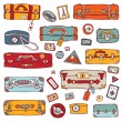 Stock Vector: Vintage suitcases set. Travel Vector illustration.