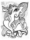 Ganesha Hand drawn illustration. — Stock Vector