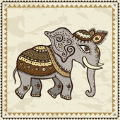 Ethnic elephant. Indian style. — Stock Vector