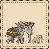 Ethnic elephant. Indian style. — Stock Vector