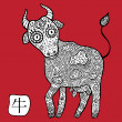 Chinese Zodiac. Animal astrological sign. Cow. — Vettoriale Stock #35043181