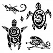 Turtle. Tribal tattoo set. — Stock Vector