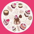 Set of cute cake. — Vector de stock #36041107