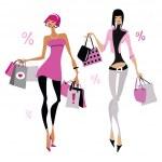 donne con borse della spesa — Vettoriale Stock  #36091065