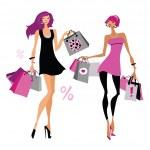 donne con borse della spesa — Vettoriale Stock  #36095177